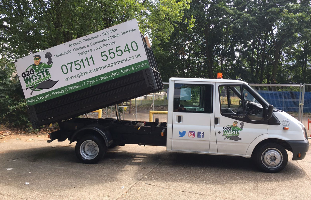 G2G Waste Management Rubbish Removal Van Tipped